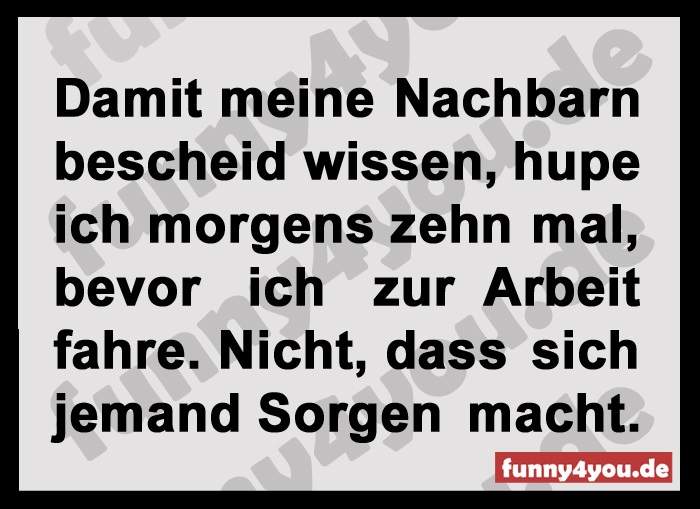 Funny Spruch - Morgens 10 mal hupen